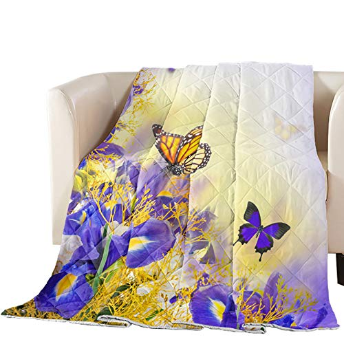 Possta Decor Down Alternative Reversible Comforter Cotton Fill Quilted Throw Blanket Purple Iris Butterfly Lightweight Ultra Soft Bedding Set All Season Duvet Insert, Twin Flower