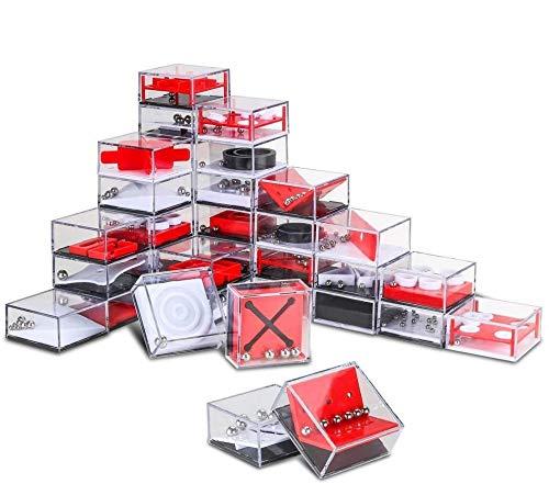 Mini Juegos de Rompecabezas, 24PCS Blocks Geduldsspiele Balance Maze Box Labyrinth Puzzle 3D Brain Teaser Cumpleaños Alivio del Estrés Juguetes para Niños y Adultos