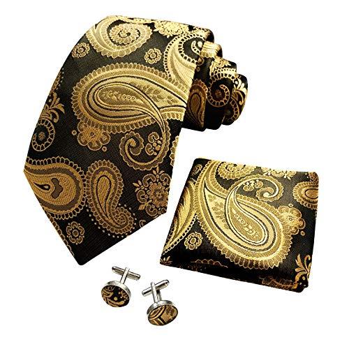 CANGRON Conjunto de corbata de paisley dorado y negro para hombre, corbata con bolsillo cuadrado, caja para gemelos DLSP8HJ