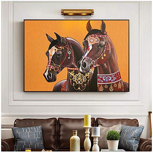 zhaoyangeng Hd-schilderij modern bruin Horse Painting Canvas Decoratieve muurkunst Foto voor woonkamer slaapkamer Decoratie - 50X75cm Oningelijst