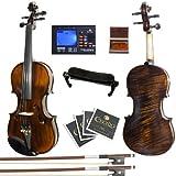 Mendini By Cecilio Violin - MV500+92D - Size 3/4, Black Solid Wood - Flamed, 1-Piece Violins w/Case, Tuner, Shoulder Rest, Bow, Rosin, Bridge & Strings - Adult, Kids
