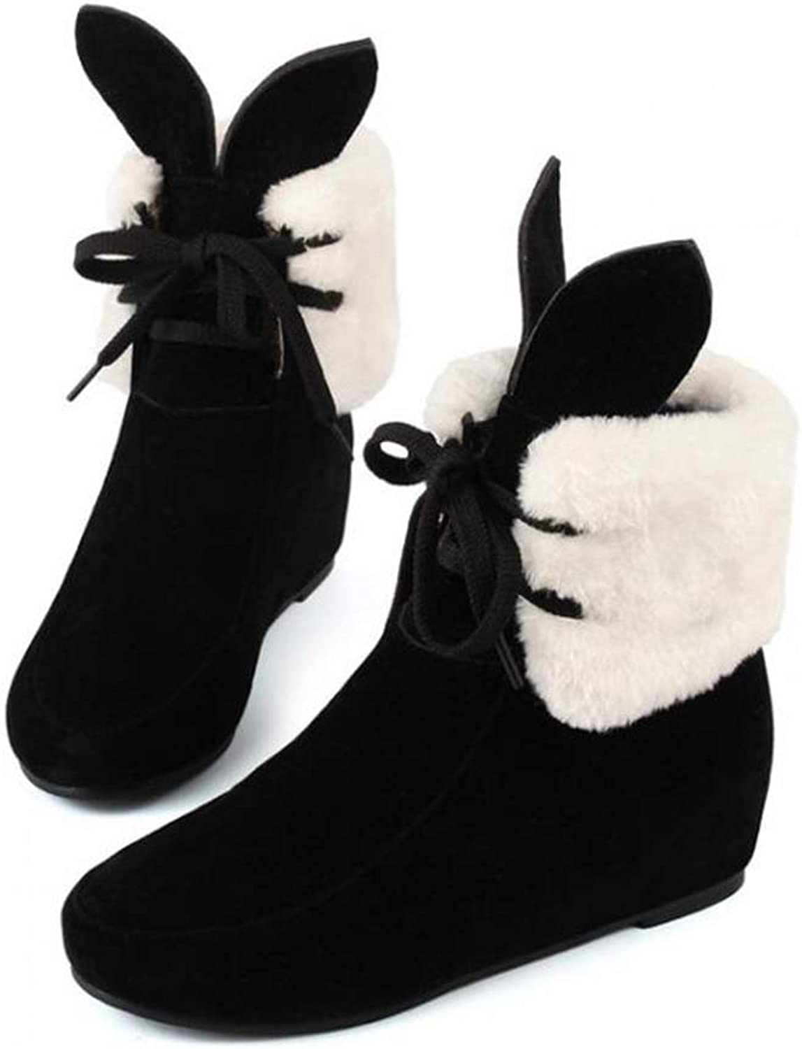 Women's Mid-Calf Boots Wedges Height Increasing Warm Female shoes Thick Plush Winter Snow Boot