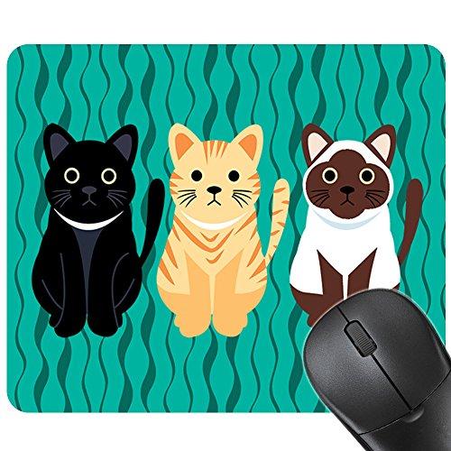 Momangel - Alfombrilla antideslizante para ratón, diseño de gatos, multicolor, caucho, Verde, 24cm x 20cm