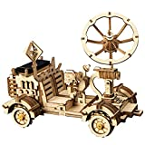 Robotime Solar Powered Stem Toys - Laser Cutting Robot DIY Kits de Modelo de Coche - Rompecabezas de Madera 3D Age 14 3D Puzzles Adult (Moon Buggy)