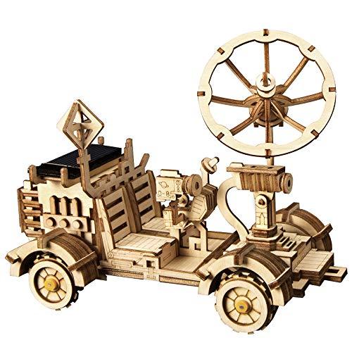 Robotime Solarbetriebene STEM Spielzeug - Laserschneiden DIY Roboter Auto Modellbau Kits - 3D Holz Puzzle Alter 14 3D Puzzles Erwachsene (Moon Buggy)