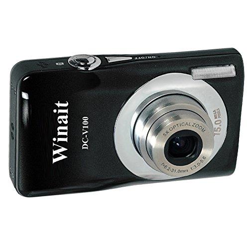 Winait Cámara digital compacta V100 – 15 MP, 4 x zoom y 5 x ópticas, pantalla TFT de 2,7 pulgadas