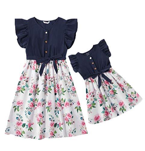 Loalirando Schönes Mutter Tochter Blumenmuster Kleider Matching Outfits Familien Kleidung Rüschen Prinzessin Kleid (1-2 Jahre, Blau)