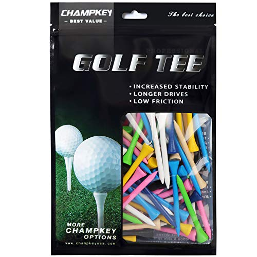 Champkey PGA Professional Natural Hardwood Golf Tees Pack of 120,2-1/8 Inch,2-3/4 Inch,3-1/4 Inch Available (Mixed Color(Hard Wood), 3-1/4 inch)
