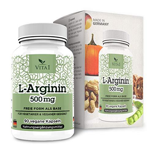 VITA1 L-Arginin 500mg • 90 Kapseln (2 Wochen Vorrat) • zur diätetischen Behandlung von Gefäßfunktionsstörungen • Hergestellt in Deutschland