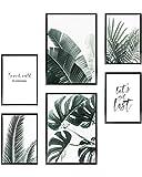 Heimlich Set di Stampe da Parete - Senza Cornici - Decorazioni da Muro per Soggiorno, Camera da Letto e Cucina - Poster Abbinati - 2 x A3 (30x42cm) et 4 x A4 (21x30cm) |»Palms & Monstera «