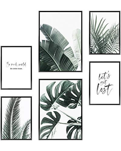 Heimlich® Premium Poster Set | OHNE Bilderrahmen | Stilvolles Set mit passenden Bilder als Wohnzimmer Deko | 2 x DIN A3 & 4 x DIN A4 - ca. 30x42 & 21x30 | » Palmen & Monstera «