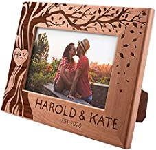 Love Picture Frame Personalized, 4x6 - Couple, Hearth & Your Initials on Tree, Romantic Gifts for Anniversary, Wedding, Engagement, Valentines Day - My Valentine Picture, Custom Couple Photo Frame