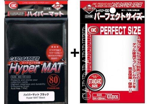 80 KMC Hyper Mat Black + 100 KMC Perfect Size Sleeves - Standard Kartenhüllen - 3 x 4 - 63.5 x 88