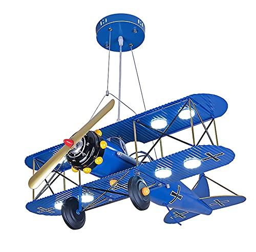 Iluminación para niños Luces de avión retro, Avión de dibujos animados LED Lámpara de techo de montaje empotrado Avión de metal Habitación de los niños Dormitorio Lámpara de techo LED de acrílico