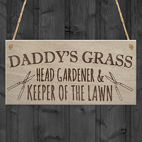 RED OCEAN Daddy's Grass Garden Lawn Shed Father's Day Hanging Plaque Dad Gift Sign