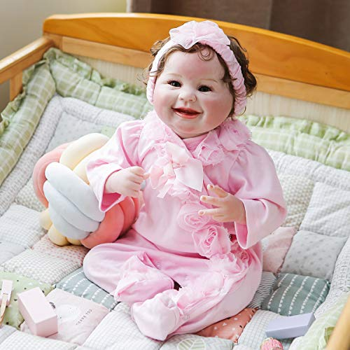 Kokomo Cute Soft Silicone Reborn Baby Dolls 22 inch Realistic Reborn Girl Smile Happy Babies with Pink Clothes for Toddler Girls Toys