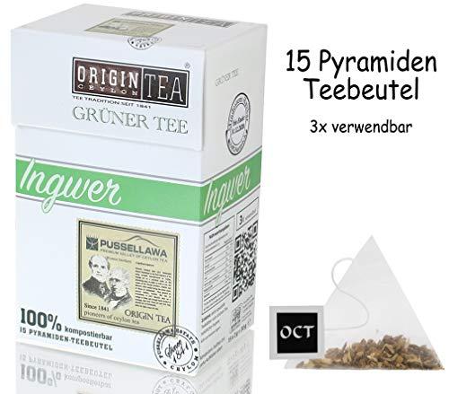 Origin Ceylon Tea Ingwer Grüner Tee 15 Pyramiden-Teebeutel direkt von der Plantage aus Sri Lanka