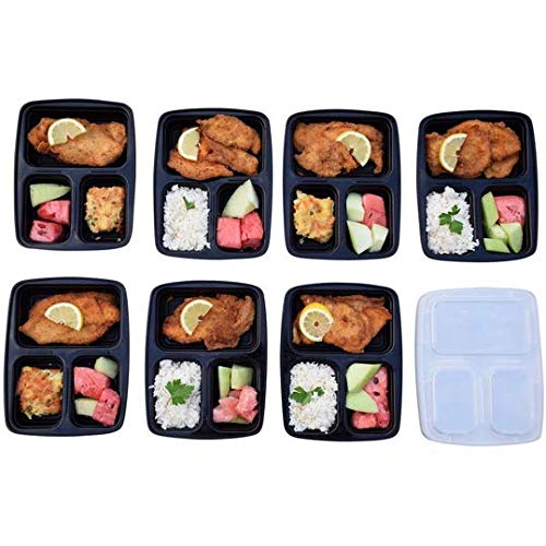 10 Stks Meal Prep Container w/Lip Voedsel Opslag Verwijderbare Magnetron Veilig 3 compartiment (Transparant)