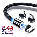 Rocketkart Multi Charging Cable, 3 in 1 Nylon Braided Fast Charging Cord Magnetic