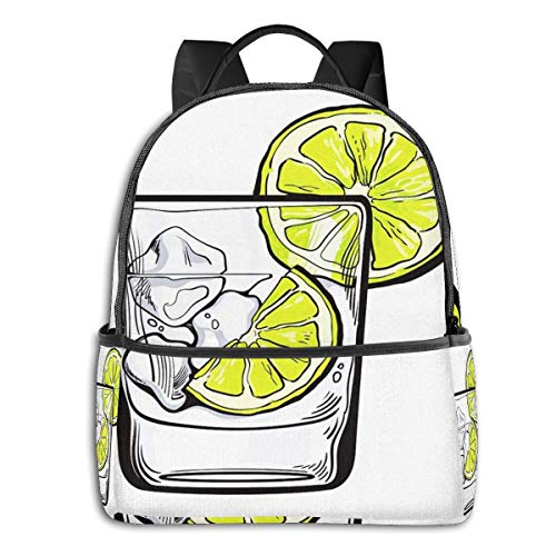 School Backpack for Men Women Teenager Daypack Fit 15.6 Inch Laptop Satchels Rucksack, Glass Soda Water Casual Travel Backpack