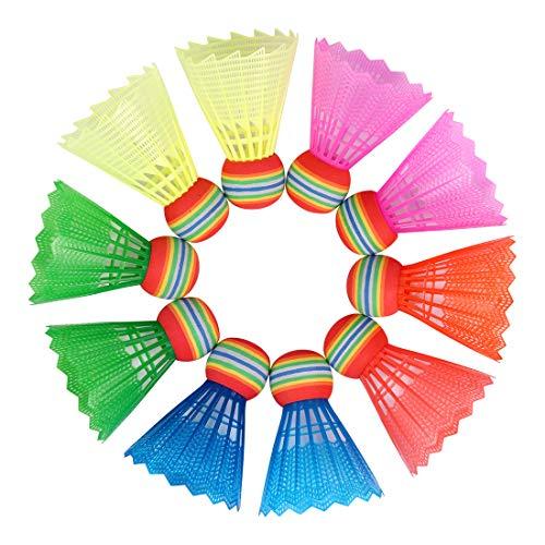 O-Kinee 10pcs Colorate Volani da Badminton,Arcobaleno Badminton Shuttlecock in Plastica Palline Durevole, Volano Portatili per Allenamento Sportivo Forniture all'Aperto, per Interni&Esterni Sport