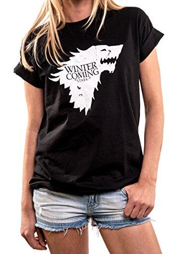 MAKAYA Oversize Top Manga Corta - Winter is Coming - Camiseta Juego de Tronos Mujer Negro XL