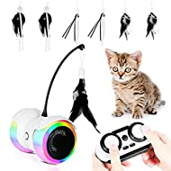 Lipop Robotic Interactive Cat Toy with 6 Feather Toys 2 Cat Wand, Automatic Irregular Multi-track Ru...
