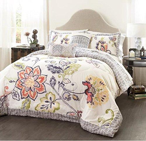 Best Deals! 5 Piece Reversible Artful Floral Design Quilt Set Full/Queen Size, Featuring Colorful Fl...