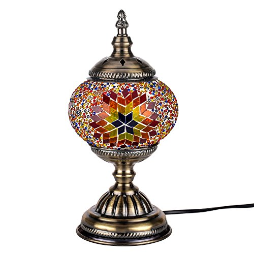 Orientalische Marokkanische Lampe Mosaik Glaslampe Vintage für Schlafzimmer Nachttischlampe Bronze Basis (Braun)