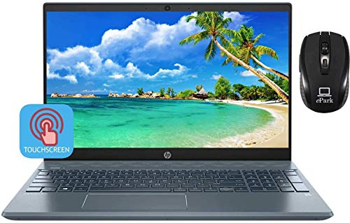 2020 Latest HP Pavilion 15.6 Inch Touchscreen Laptop, 10th Gen Intel Core i7-1065G7, 16GB RAM 256GB PCIe SSD + 1TB HDD, NVIDIA GeForce MX250 4GB, B&O Type-C Backlit KB Win 10 + ePark Wireless Mouse