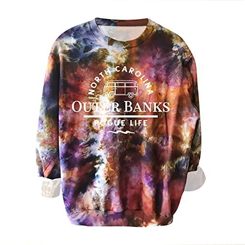 Wave166 Tie Dye - Sudaderas coloridas con letras del alfabeto impresas, camisetas de gran tamaño para niñas, ropa deportiva informal, camisetas de manga larga para adolescentes y niñas, 5-azul, L