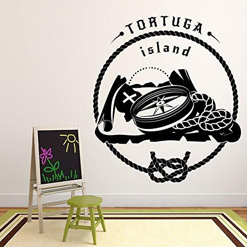 Isla Tortuga pegatinas de pared brújula mapa pirata aventura tema mural puerta vinilo pegatinas niños dormitorio guardería decoración
