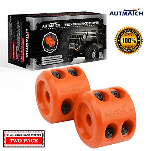 AUTMATCH Winch Cable Hook Stopper (2 Pack) Silicone Rubber Shock Absorbent Winch Stopper Best Winch Accessories for Wire & Synthetic Cables ATV UTV Prevent Pulling Eliminate Abrasion Bouncing Orange