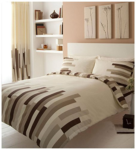 Gaveno Cavailia Luxury BLOCKS Bed Set With Duvet Cover and Pillow Case, Cream/Brown, Polyester-Cotton, Double