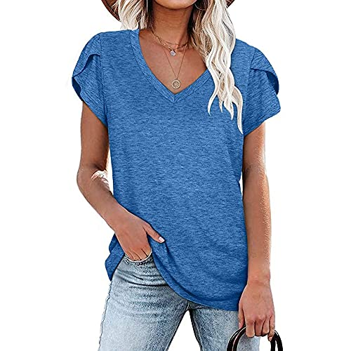 Qienjn Camiseta Mujer Sexy con Cuello En V Cómoda Fibra Elástica Transpirable Camiseta Mujer Suelta Y Elegante Camiseta Larga para Mujer G-Blue XXL