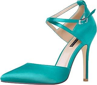ERIJUNOR Women High Heel Ankle Strap Satin Dress Pumps Evening Prom Wedding Shoes
