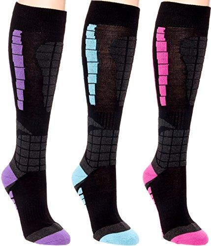 3 Pack Women's Ski Socks - Over The Calf Snow Socks for Snowboarding, Skiing By LISH (Multi, L/XL)