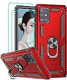 LeYi für Samsung Galaxy A51 Hülle mit Panzerglas Schutzfolie(2 Stück),360 Grad Ring Halter Handy Hüllen Cover Magnetische Bumper Schutzhülle für Case Samsung Galaxy A51 Handyhülle Rot