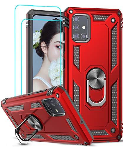 LeYi Funda Samsung Galaxy A51 con [2-Unidades] Cristal Vidrio Templado,Armor Carcasa con 360 Grados Anillo iman Soporte Hard PC y Silicona TPU Bumper Antigolpes Case para Movil A51,Rojo