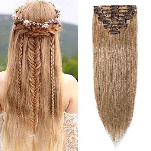 Clip in Extensions Echthaar günstig Haarverlängerung 8 Tressen 18 Clips Remy Human Hair 40cm-65g(#27 Dunkelblond)