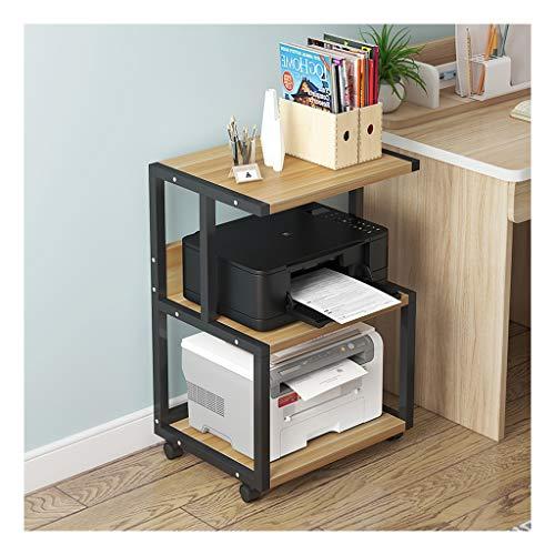Printer Stand 3 Shelf Mobile Printer Stand Paper Organizer 3D Printer Media Cart with 4 Swivel Wheels Under Desk Printer Stand (Color : Black-c)