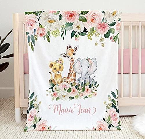 Personalized Sale price Safari Blanket for Girls Boys Fleece Baby Blan discount Soft