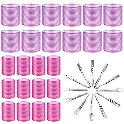 Hair Curlers Rollers, Cludoo 36Pcs Jumbo Big Hair Roller Sets with Stainless Steel Duckbill Clip, 2 Size Self Grip Hair Curlers Rollers for Long Medium Short Thick Fine Thin Hair Bangs Volume