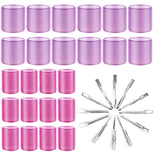 Hair Curlers Rollers, Cludoo 36Pcs Jumbo Big Hair Roller Sets with Stainless Steel Duckbill Clip, 2 Size Self Grip Hair Curlers Rollers for Long...