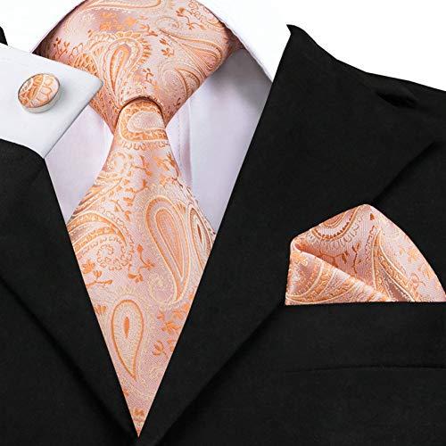 WOXHY Herren Krawatte Krawatte Coral Pink Farbe Hochzeit Krawatte Set Seidenkrawatte Einstecktuch Manschettenknöpfe Set Krawatten Für Männer Sn-586