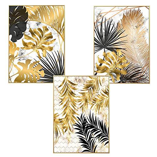 Martin Kench 3er Set Design-Poster Wandbilder, Wald Goldene Blätter Palmblatt, Ohne Rahmen, Wandbild Print Bilder Kunstposter Deko für Wohnzimmer (Stil D,50 x 70 cm)