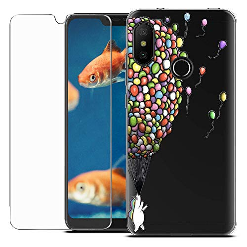 MadBee Coque Compatible avec Xiaomi Mi A2 Lite [avec Verre Trempé],Motif Design Silicone Transparente Ultra Mince TPU Souple Housse Etui de Protection Anti Rayures pour Xiaomi Mi A2 Lite (Ballon)