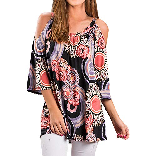 Best Prices! Hurrybuy Womens Off The Shoulder Tops 3/4 Flare Sleeve Summer T-Shirt Floral Printing B...