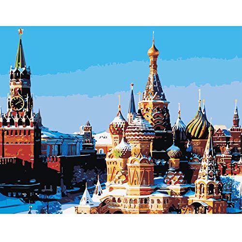 SDHJMT Anfänger Malen nach Zahlen Kit Digitale Bildwanddekoration der schönen Schlosszusammenfassungs-Ölfarbe Leinwand DIY ölgemälde 16x20inch