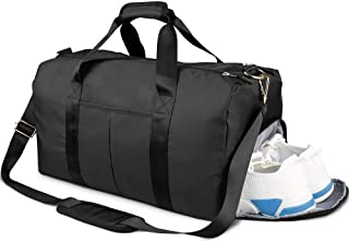 KH Gym Duffle Bag, with Shoe Compartment and Wet Pocket for Men or Women Swim Sports Travel Gym Bag (Black)